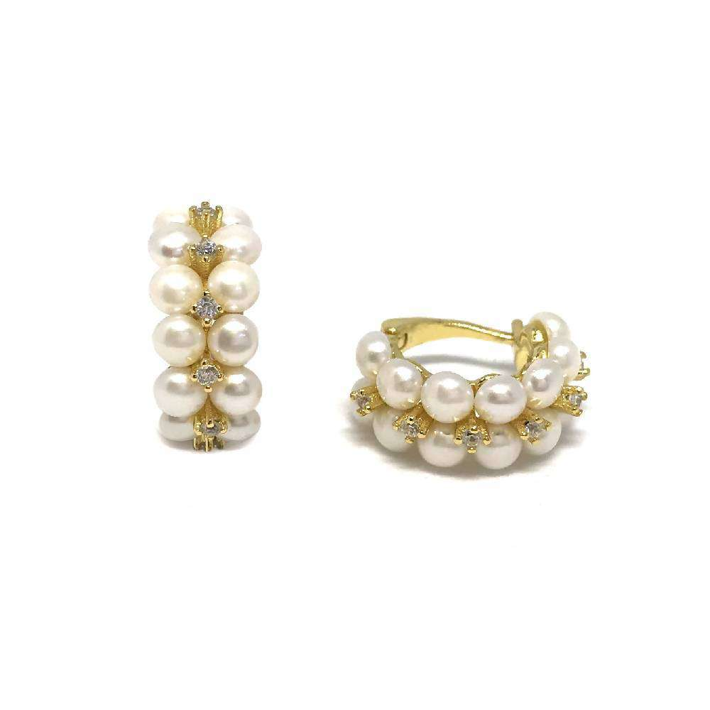 Double Row Pearls and Zirconia Earring Hoops - Yellow Gold