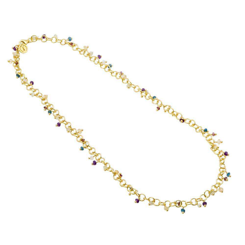 18ct Yellow Gold Plated Necklace with Hand Wrapped Gemstones