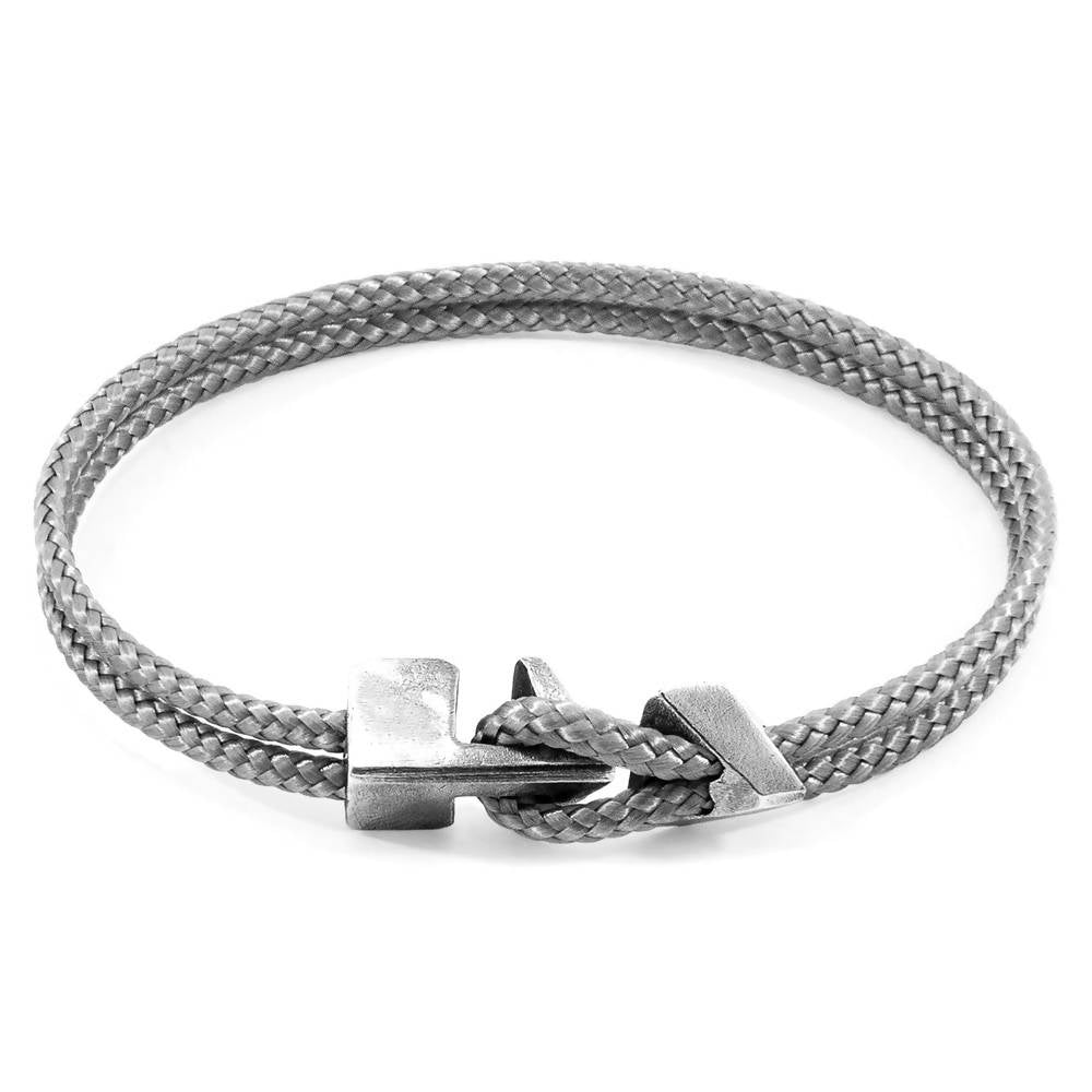 CLASSIC GREY BRIXHAM SILVER AND ROPE BRACELET