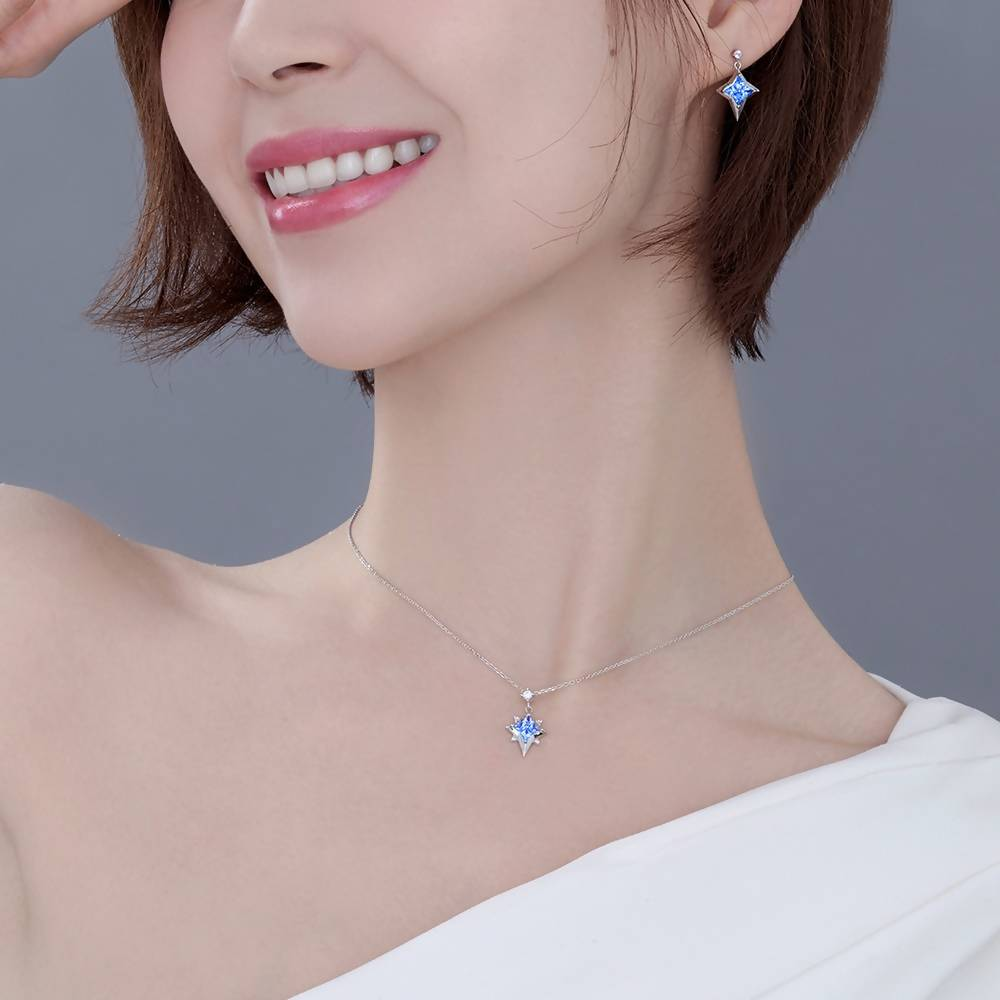 FeiLiu Sliver Pendant Necklace With Swarovski Blue Topaz and Cubic Zirconia
