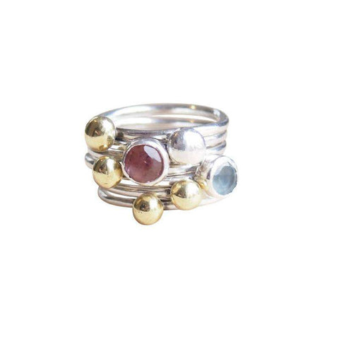 Recycled sterling silver ring with clear topaz