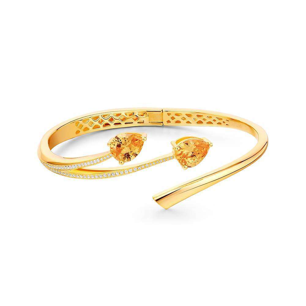 Shooting Star Yellow Citrine Two Stone Bangle in 925 Sterling Silver Yellow Gold Colour