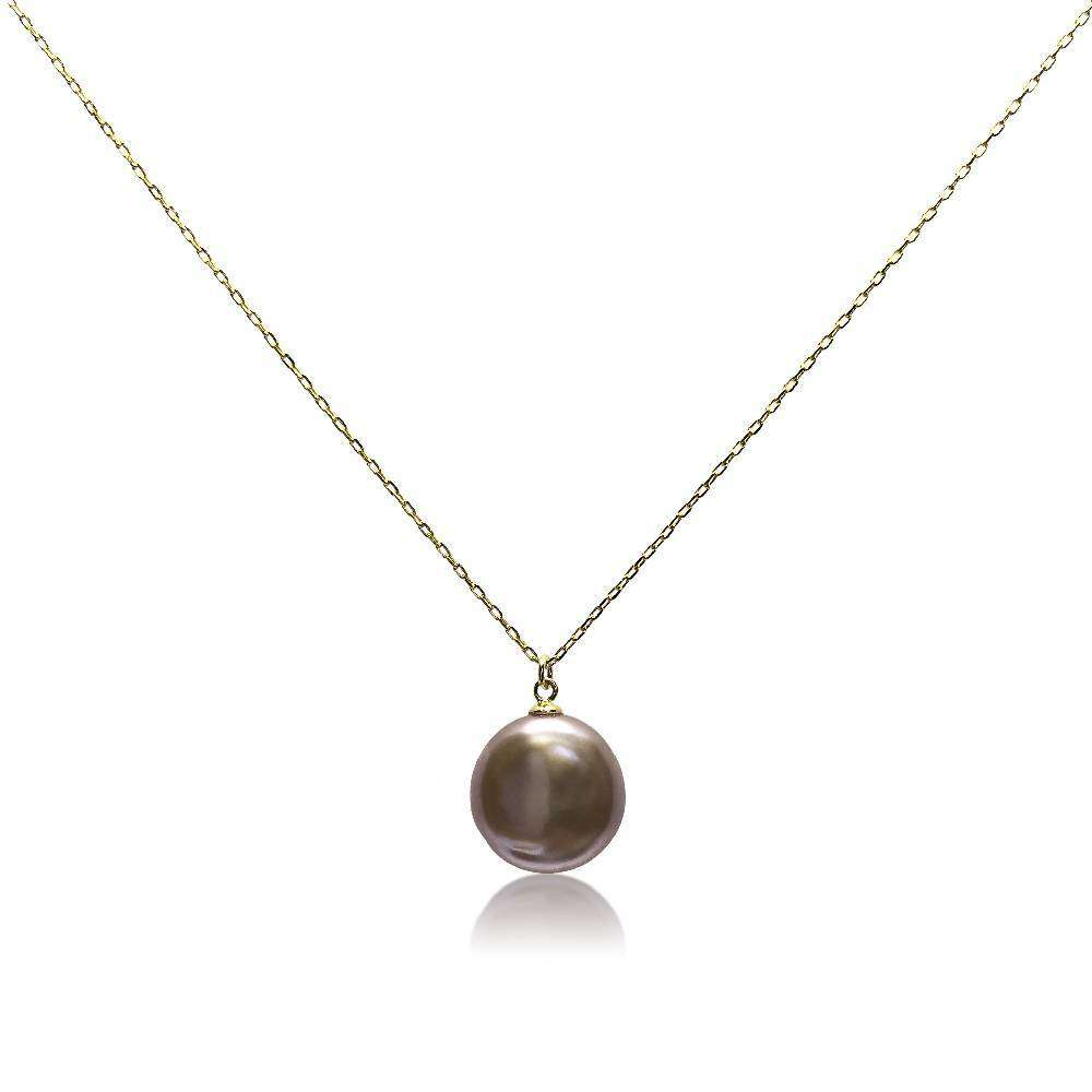 Lustrous Rainbow Violet Coin Pearl Pendant Gold Necklace