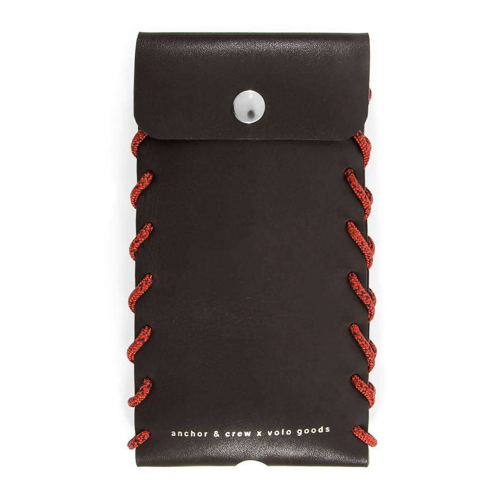 LARGE DEEP BROWN STANDEN LEATHER AND ROPE PHONE CASE