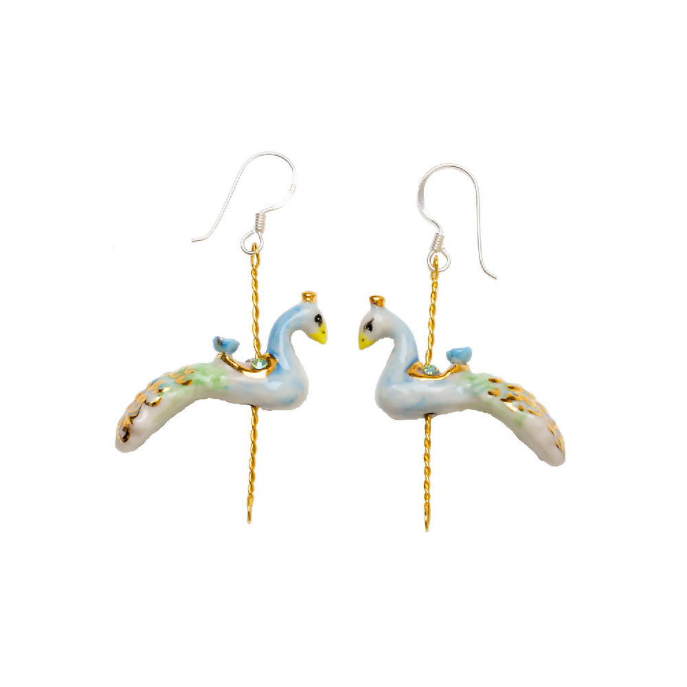 Merry Go Round Porcelain Peacock Drop Earrings