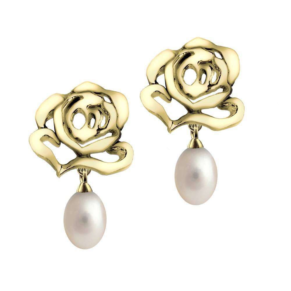 Rose Stud Drop Pearl Earrings in 925 Sterling Silver in Yellow Gold colour