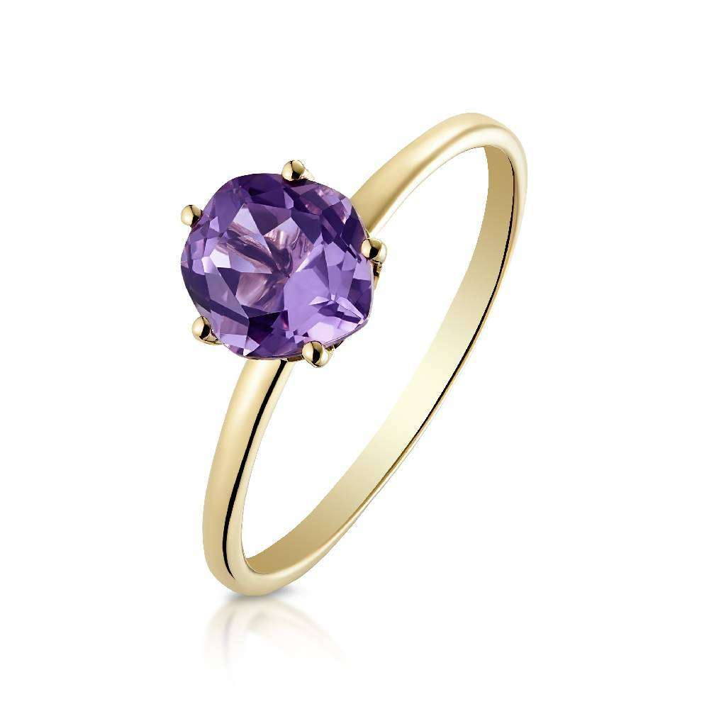 Yellow Gold and Amethyst (6mm) Ring