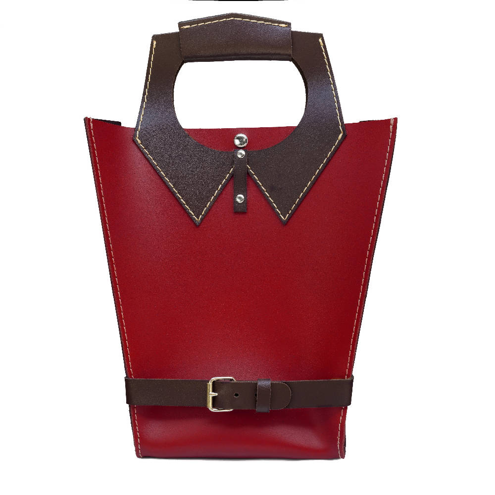 Pretty Moni Italian leather Tote handbag in red