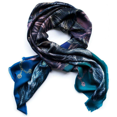 'Sleeping Dogs' Large Silk Cotton Scarf In Blue Hues