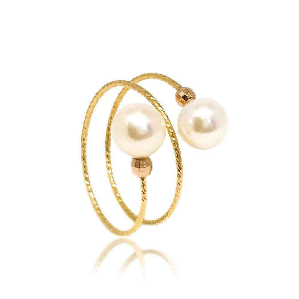 Adjustable Dual White Pearl Ring, Yellow Gold