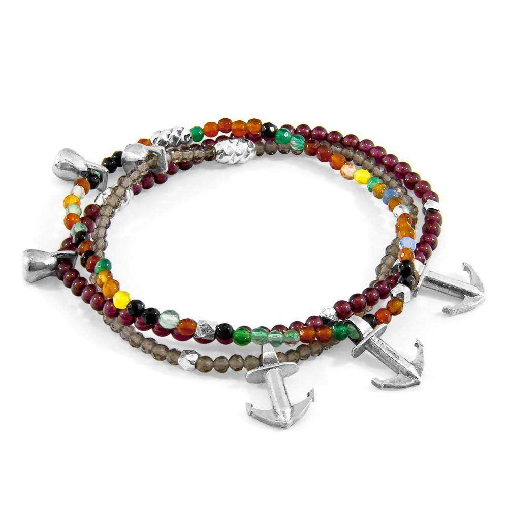 Red Garnet Harmony Silver and Stone Bracelet