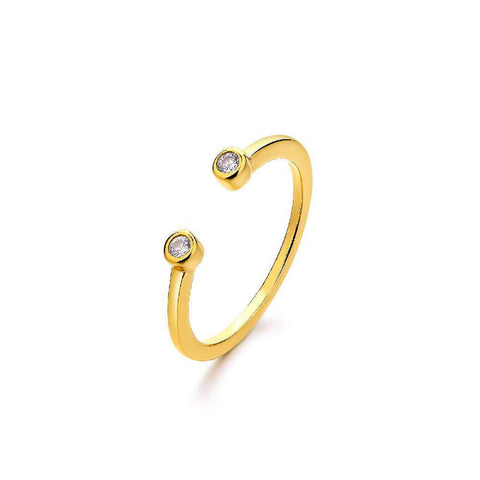 Halo Hoop Adjustable White Seed Pearl Ring, Yellow Gold