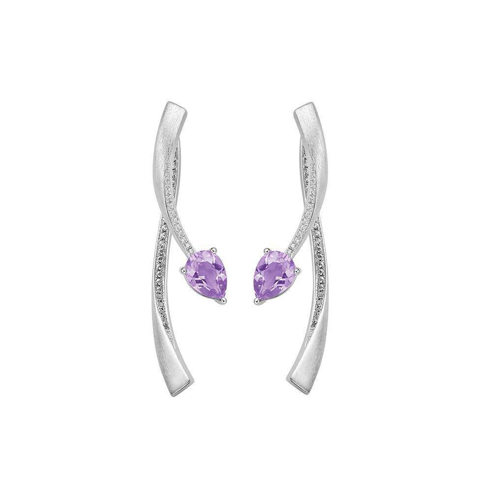 Shooting Star Purple Amethyst Two Part Earrings in 925 Sterling White Rhodium Colour