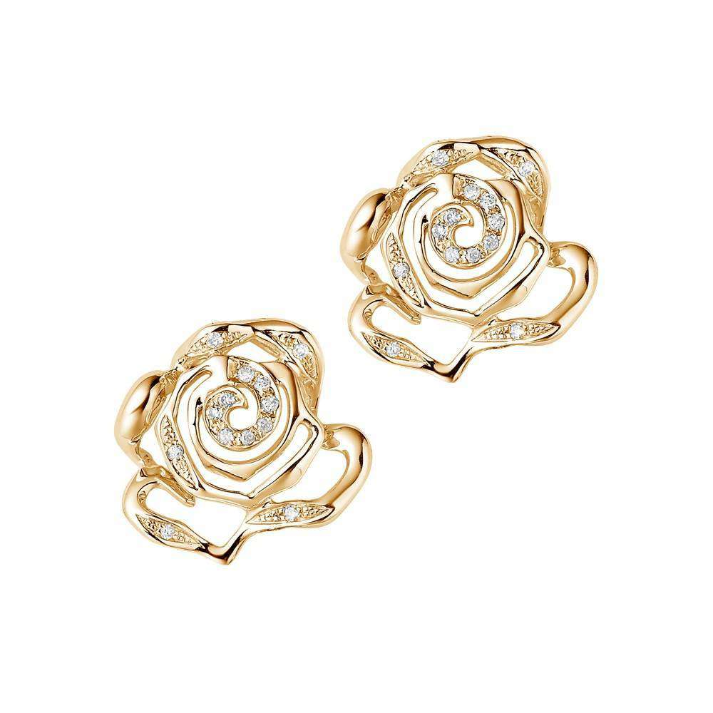 Rose Stud Earrings in 925 Sterling Silver in Yellow Gold colour