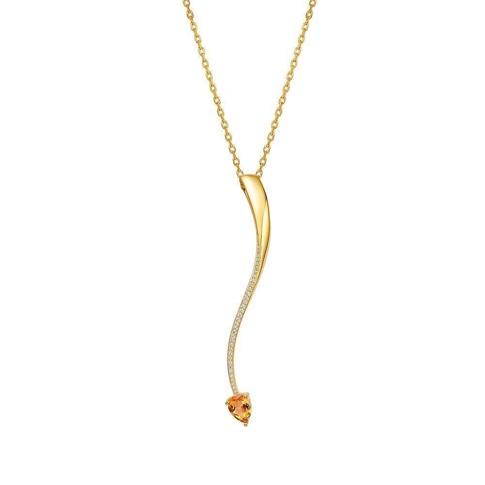 Shooting Star Yellow Citrine Long Pendant in 925 Sterling Yellow Gold Colour