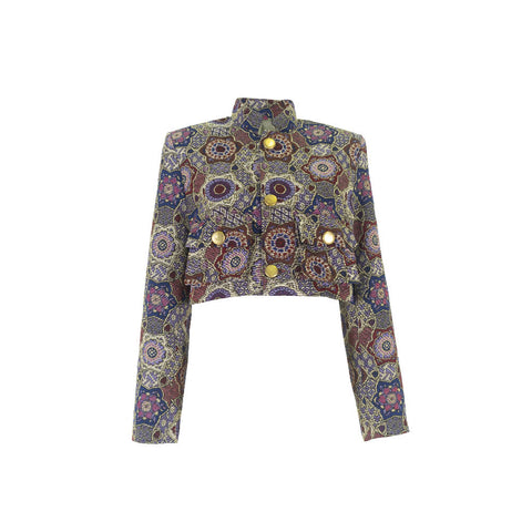 Mica Wrap Top/Blazer in Velour Fruitage Print