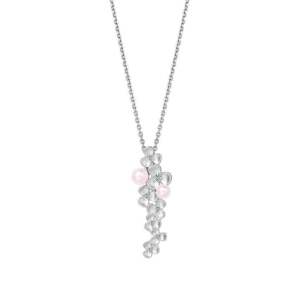 Clover Pearl Long Pendant 925 Sterling Silver in White Rhodium Colour