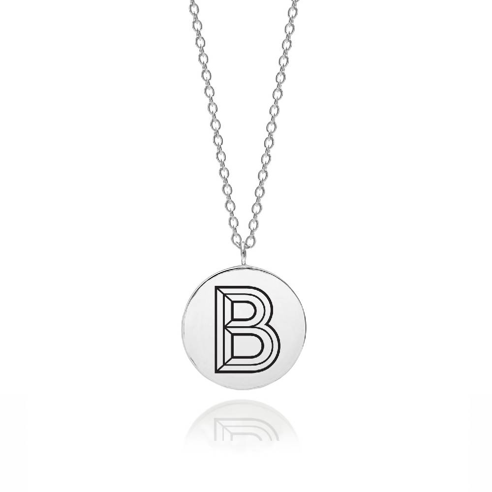 Silver Facett Initial Necklace
