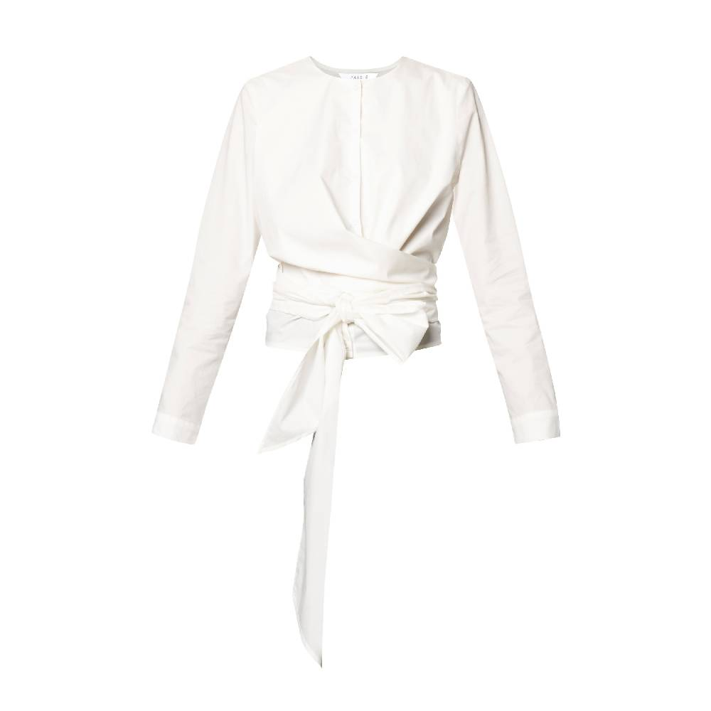 Button Front Blouse with Waist Tie Wrap in Off White