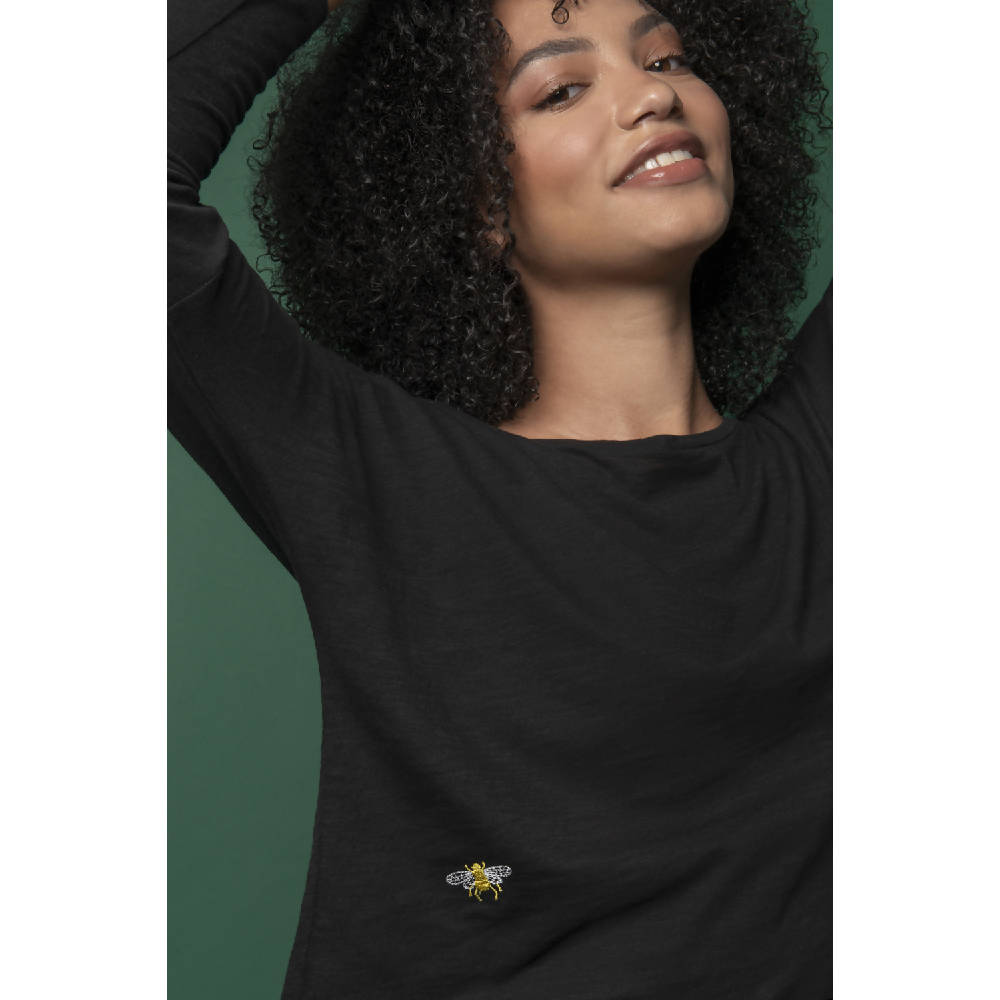 Bee Embroidered Dropped Shoulder T-Shirt Black Women