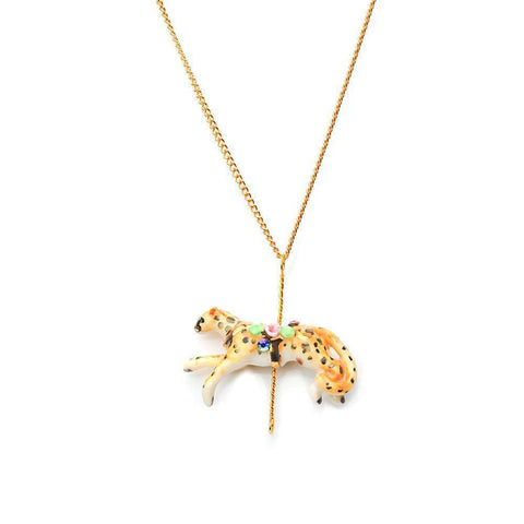 Merry Go Round Porcelain Small Peacock Pendant And Gold Plated Necklace