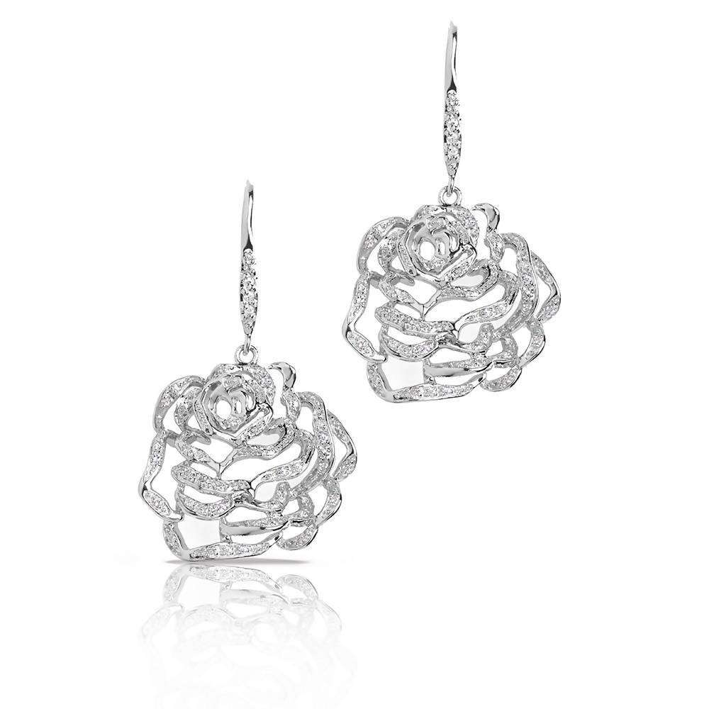 Rose Medium Earrings in 925 Sterling Silver in White Rhodium colour