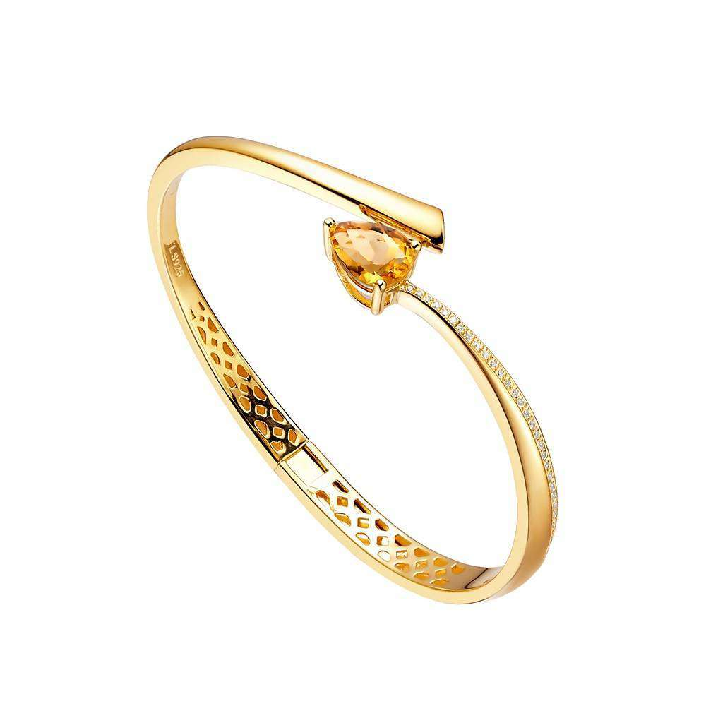 Shooting Star Yellow Citrine Bangle in 925 Sterling Silver Yellow Gold Colour