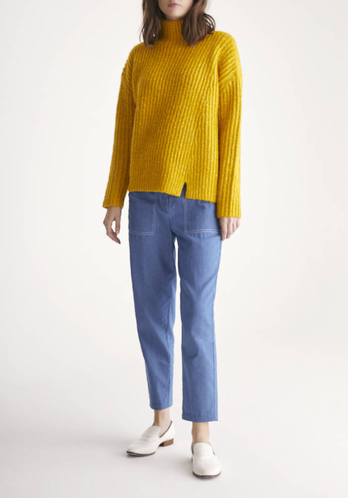 Funnel Neck Chunky Knit Jumper with Wide Ribs in Yellow Marl