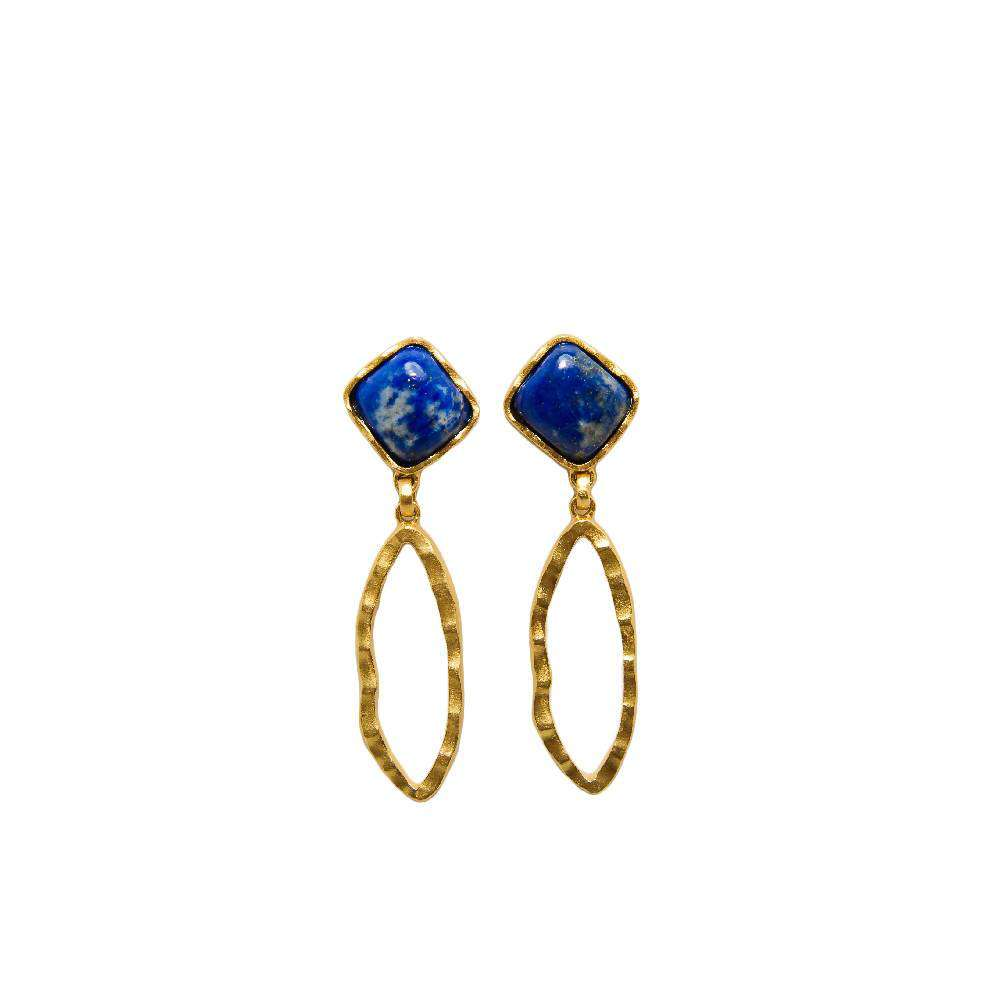 Deco Ovate Earring in Lapis