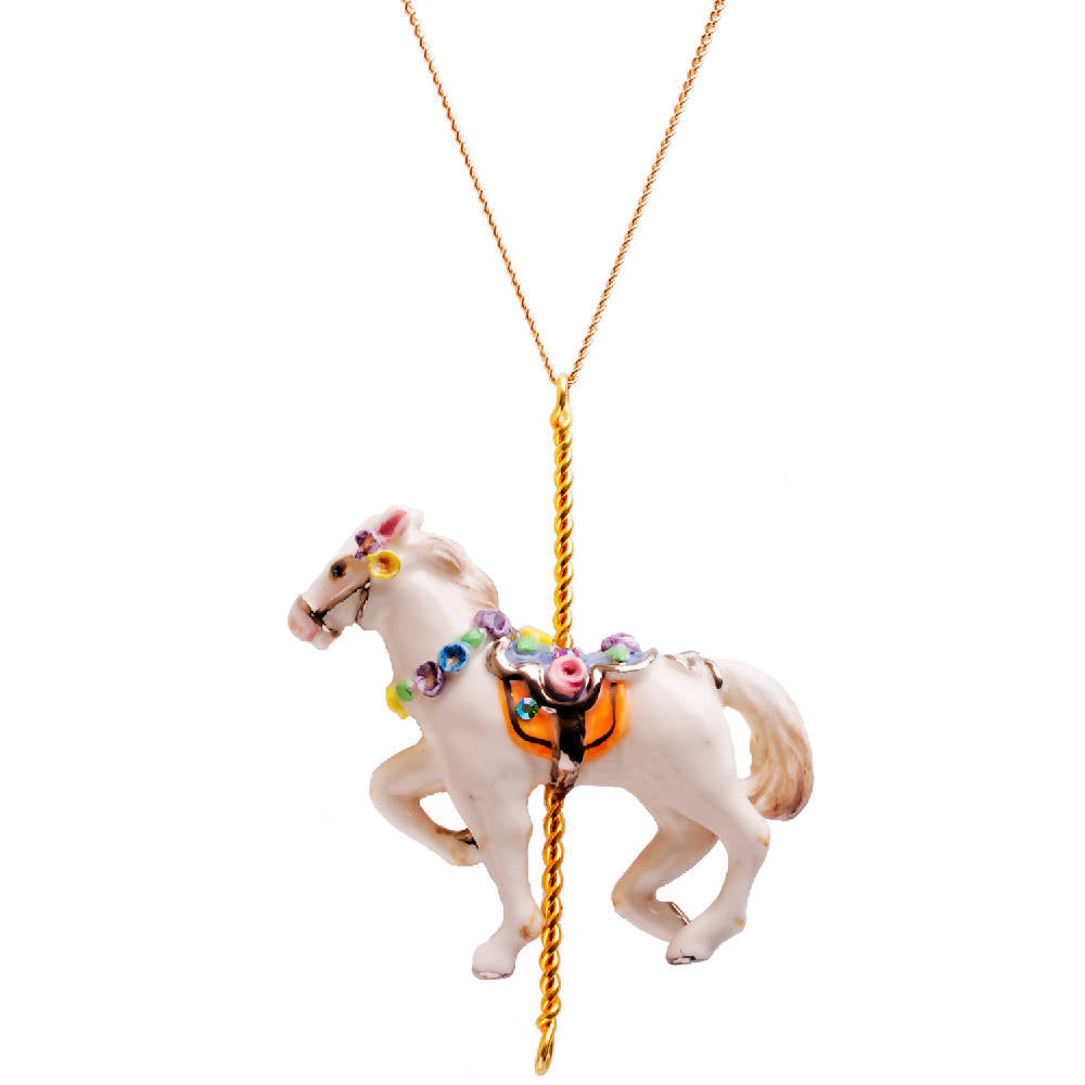 Merry Go Round Porcelain Horse Pendant And Necklace