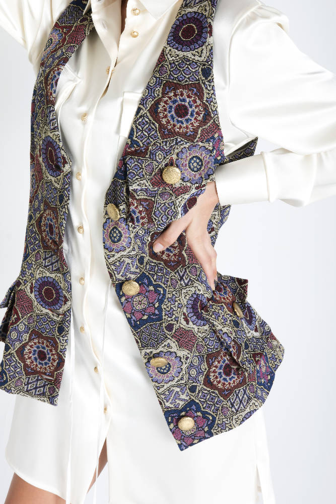 Multicolor Long Vest With Pockets