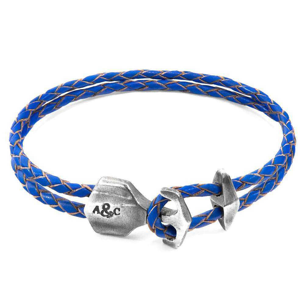 DELTA ANCHOR SILVER AND BRAIDED LEATHER BRACELET