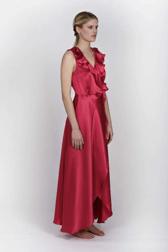 Doris SIlk Fuchsia Wrap dress