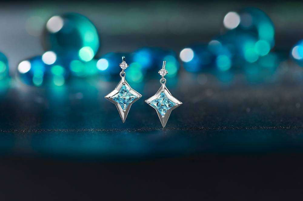Sliver Drop Earrings With Swarovski Blue Topaz and Cubic Zirconia