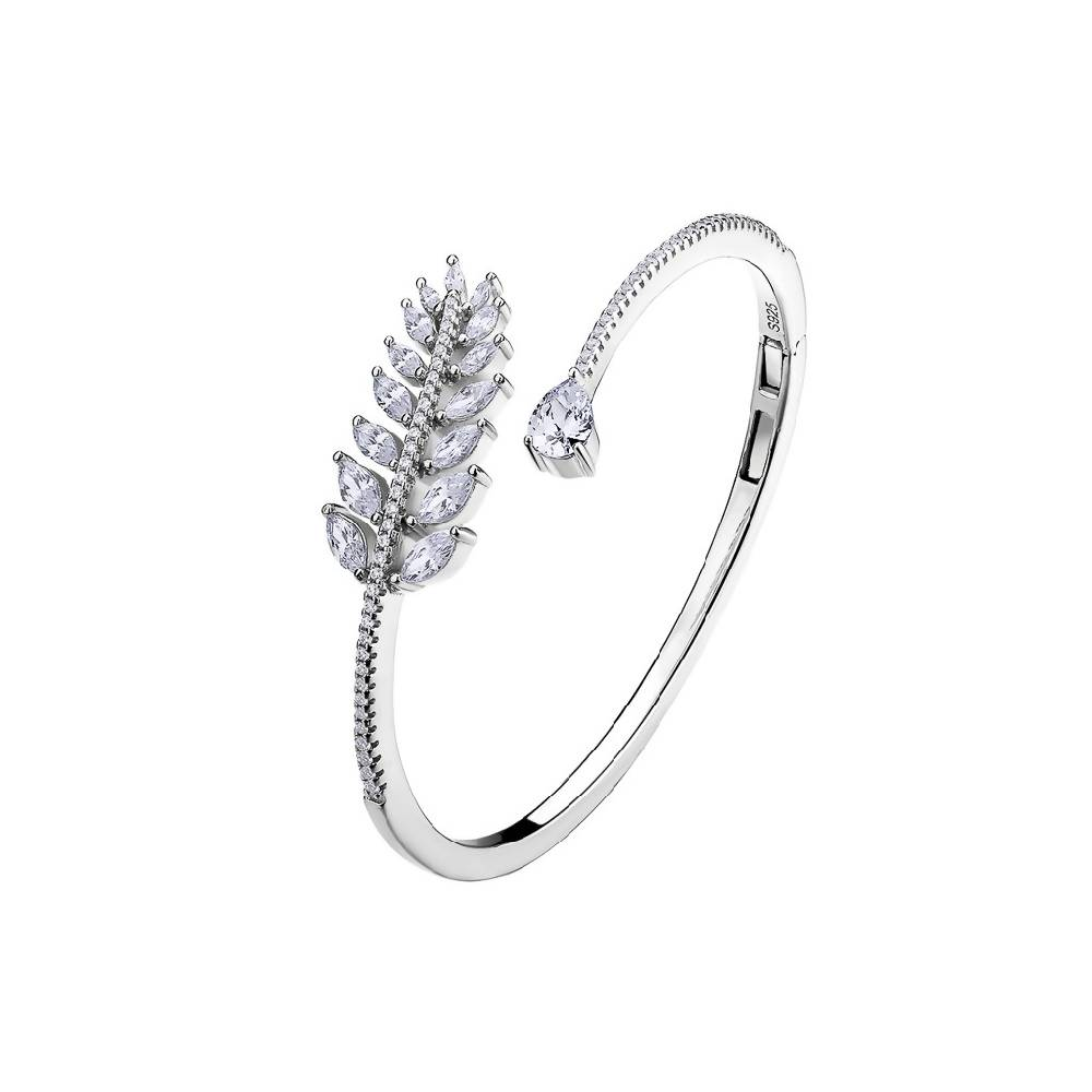 Falling Leaves Diamond White 925 Sterling Silver Bangle / Bracelet
