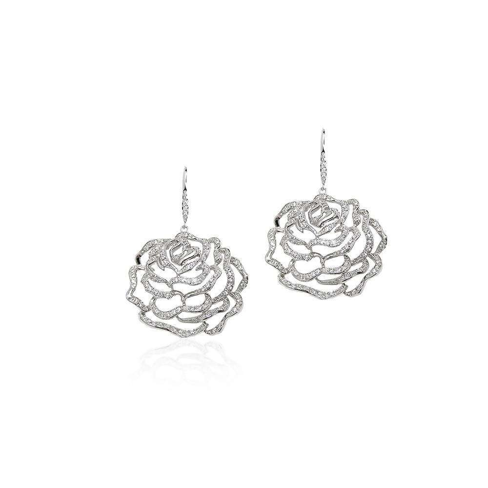 Rose Large Earrings in 925 Sterling Silver in White Rhodium colour
