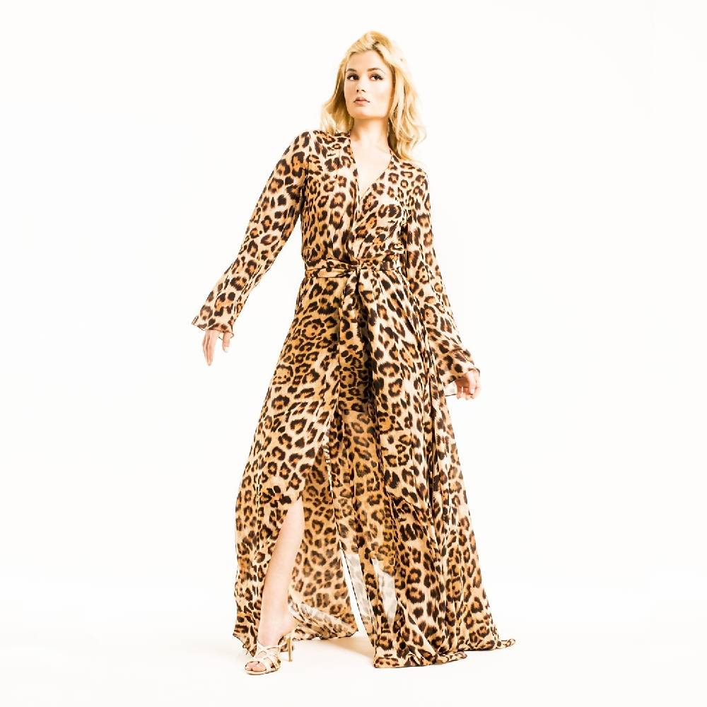 Arabian Leopard Kaftan Dress