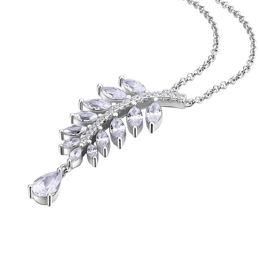 Falling Leaves Diamond White 925 Sterling Silver Necklace