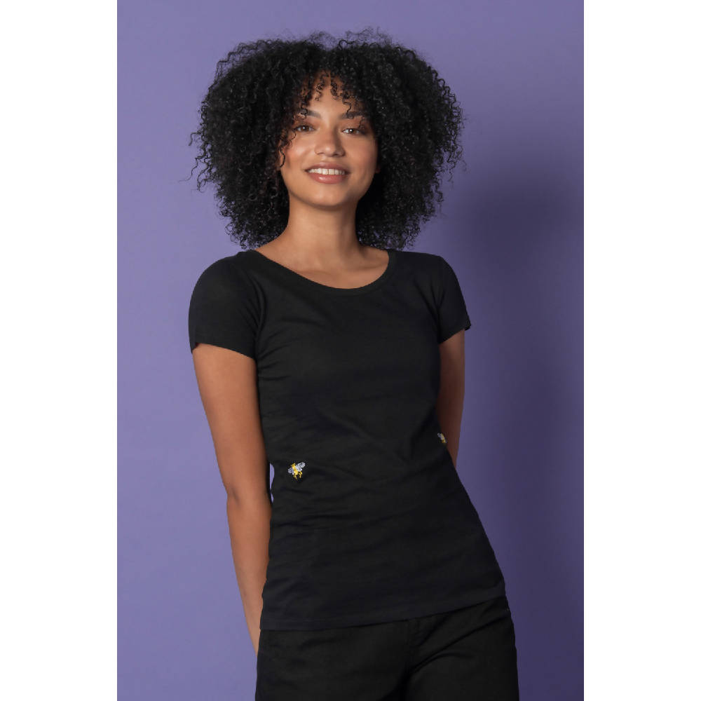 Bee Embroidered T-Shirt Black Women