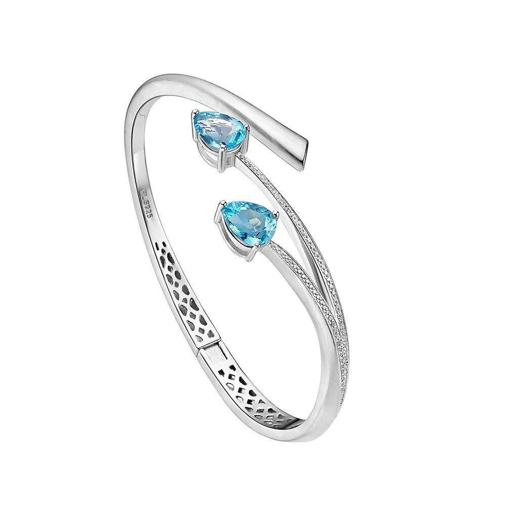 Shooting Star Blue Topaz Two Stone Bangle in 925 Sterling Silver White Rhodium Colour