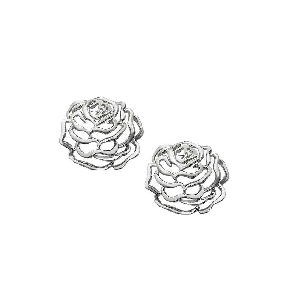 Rose Large Stud Earrings in 925 Sterling Silver in White Rhodium colour