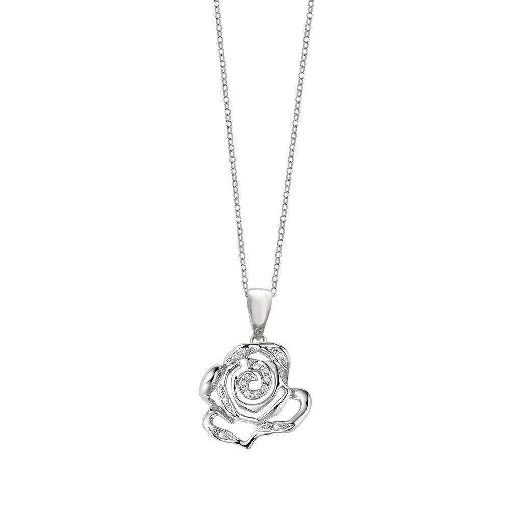 Rose Stud Pendant in 925 Sterling Silver in White Rhodium colour