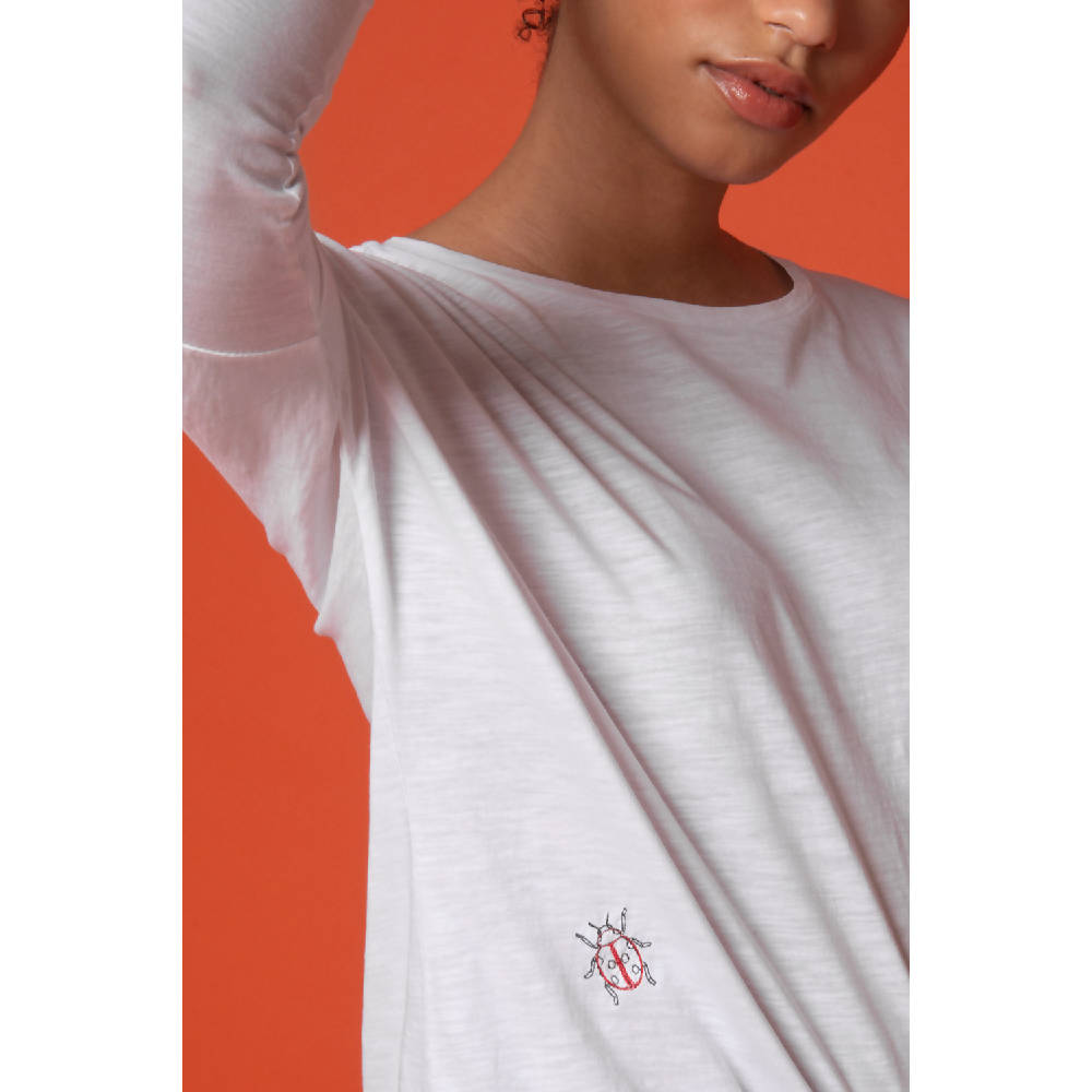Ladybird Embroidered Dropped Shoulder T-Shirt Women