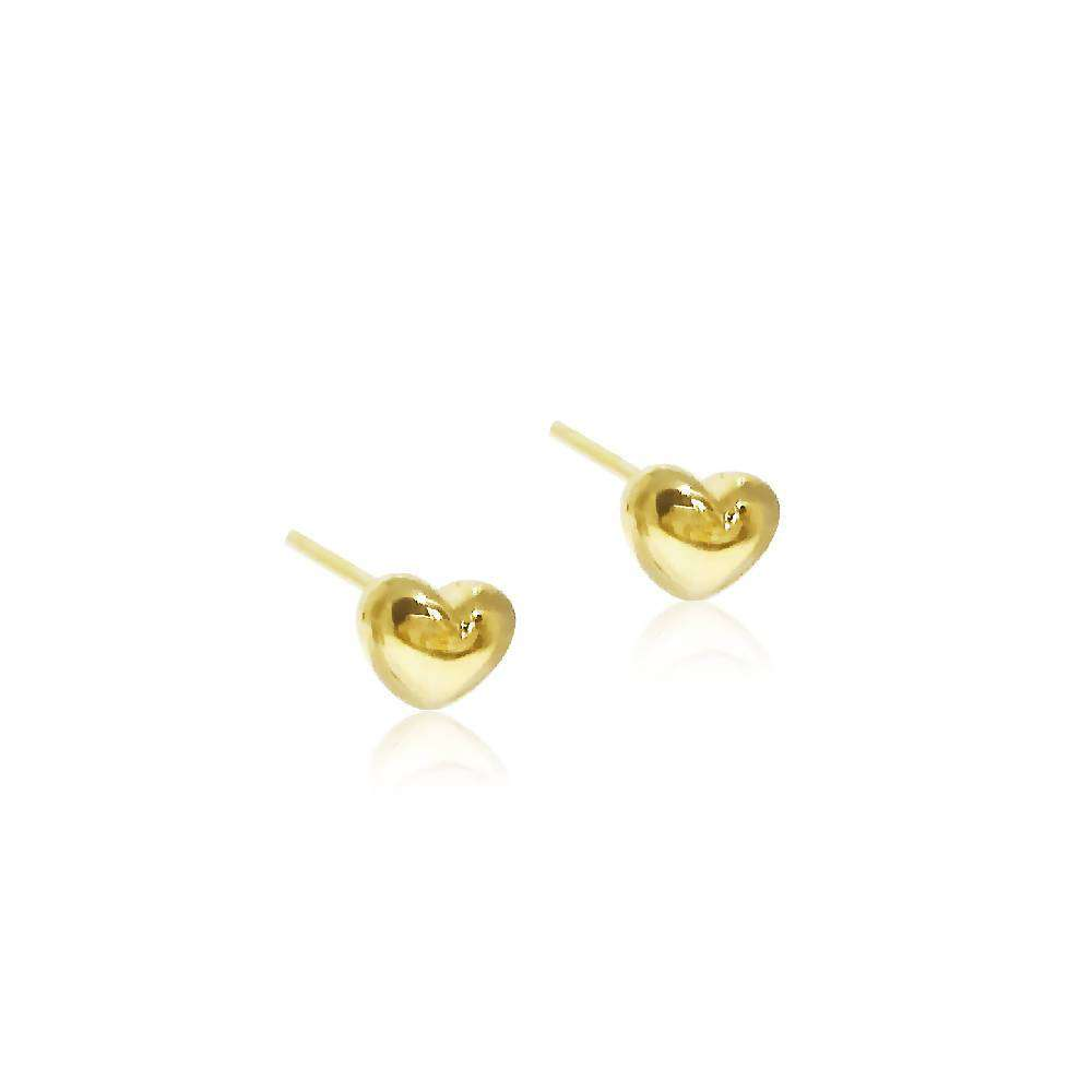 18ct Solid Yellow Gold Heart Stud Earrings