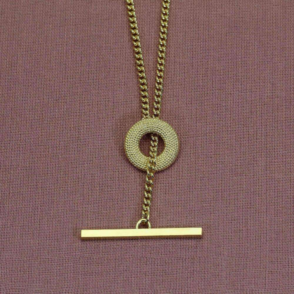 Weol Yellow Gold T-Bar Necklace