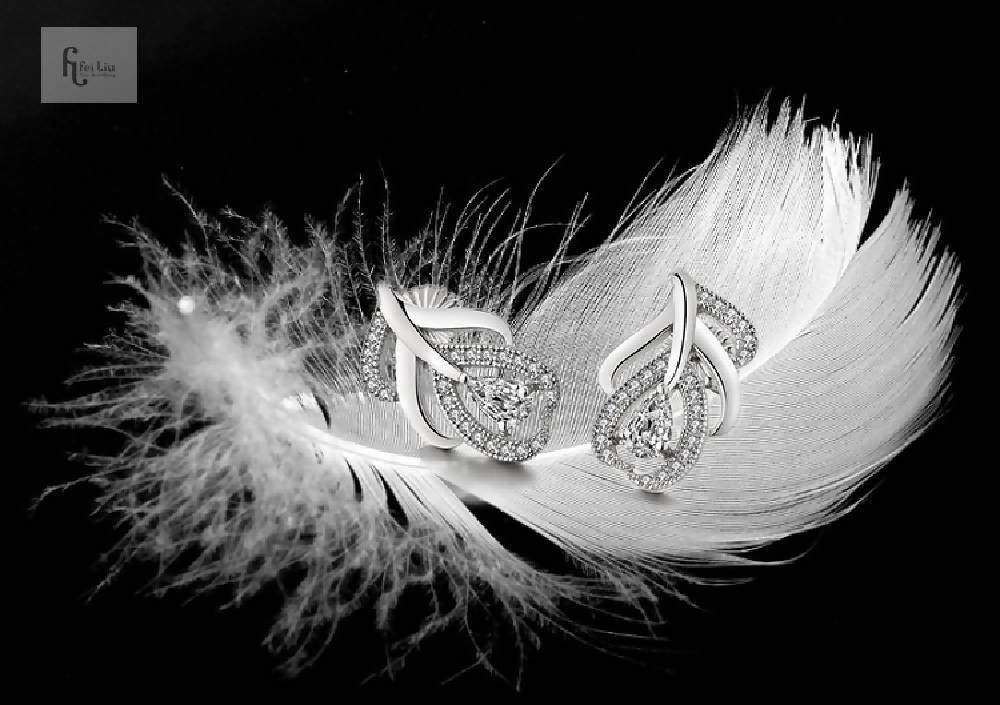 Feather Earrings in 925 Sterling Silver with Clear CZ Stone (Style2)