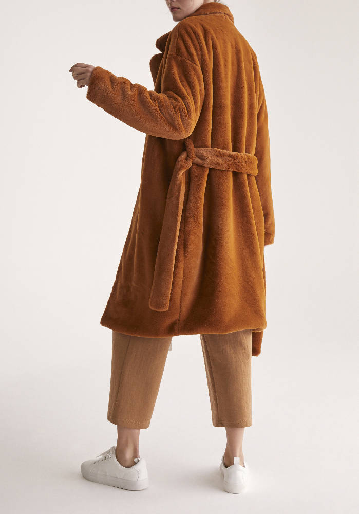 Oversized Soft Fur Teddy Bear Coat with Self Belt in Brown