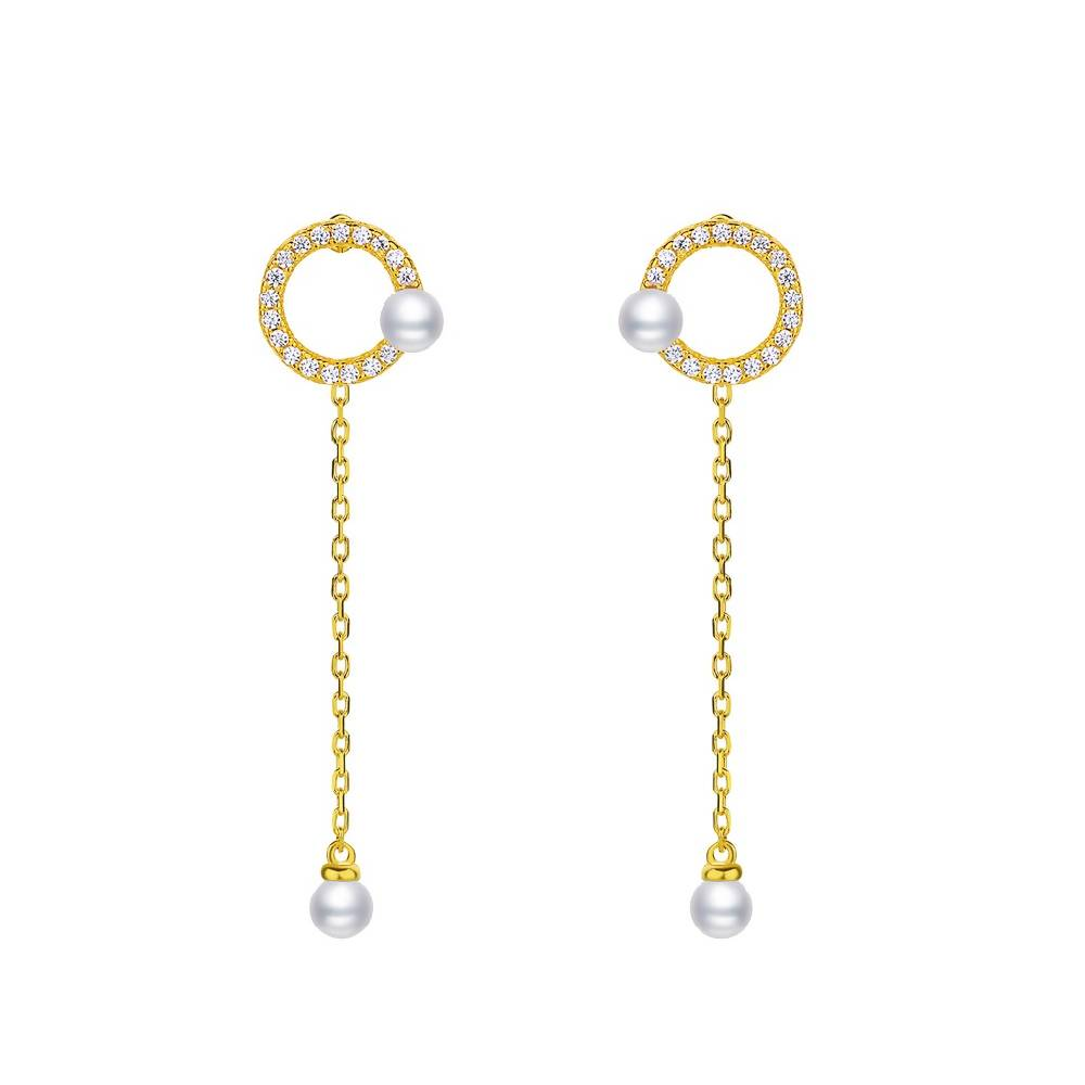 Geometrical Gold Plated 925 Sterling Silver Drop Earrings (Circle)