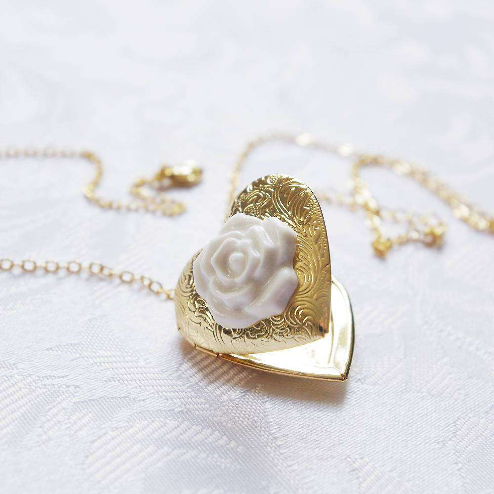 Heart Locket With Porcelain Rose Pendant Necklace
