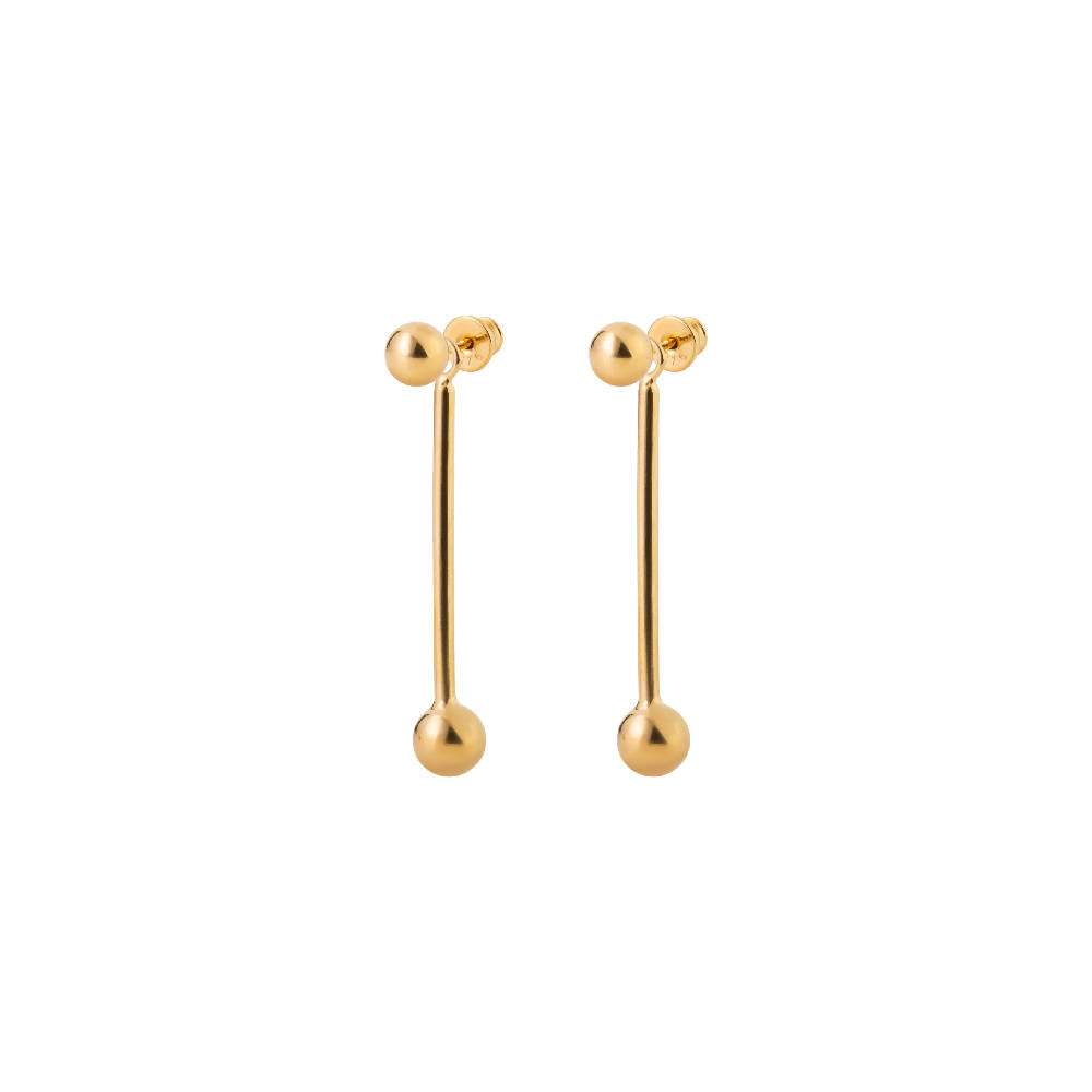 Short Bomb Swinger Earrings Gold Plated Sterling Silver